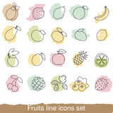 Fruits and berries line icon set Royalty Free Stock Photography