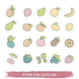 Fruits and berries line icon set Stock Photo