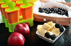 Fruits and berries for making homemade ice cream. Horizontal Stock Images