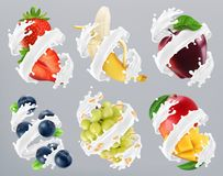 Fruits and berries in milk splash, yogurt. Strawberry, banana, apple, blueberry, grapes, mango. 3d vector stock illustration