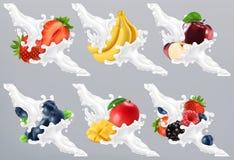 Fruits and berries in milk splash, yogurt. Strawberry, banana, apple, blueberry, mango. 3d vector vector illustration