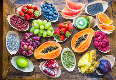 Fruits, Berries, Nuts, Seeds Top View. Royalty Free Stock Image