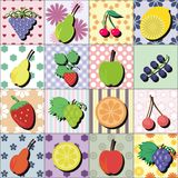 Fruits and berries on patchwork background Stock Photo