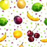Fruit seamless pattern: apples, lime, orange, pear, banana and plum berries and apricot and cherry in low poly style, on white stock illustration