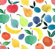 Fruits and berries pattern watercolor hand sketch. Lots of different fruits and berries bright pattern watercolor hand sketch painting like a child Royalty Free Stock Photo