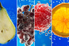 Fruits and berries (photo collage) into the glass of soda. Fruits and berries (photo collage) surrounded by bubbles on the blue background Stock Images