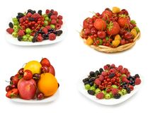 Fruits and berries in a plate Stock Photo