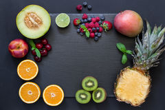 Fruits and berries rectangle. Stock Photography