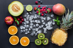 Fruits and berries rectangle. Royalty Free Stock Photo