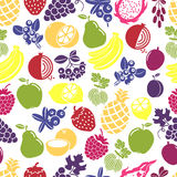 Fruits and berries seamless background Royalty Free Stock Images
