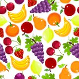 Fruits and berries seamless pattern Royalty Free Stock Photos