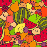 Fruits and berries seamless pattern. Fresh and juicy summer seamless pattern of fruits and berries Royalty Free Stock Photos