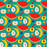 Fruits and berries seamless pattern. Illustration of some fruits and berries in seamless pattern Royalty Free Stock Images