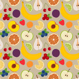 Fruits and berries seamless pattern 3. Illustration of some fruits, citruses and berries Royalty Free Stock Photos