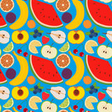 Fruits and berries seamless pattern 2. Illustration of some fruits, citruses and berries Stock Image