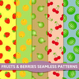 Fruits and berries seamless patterns Stock Photos
