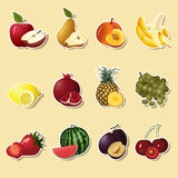 Fruits and berries sectiona: apple, pear, banana Royalty Free Stock Image