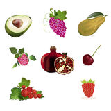 Fruits and berries set Royalty Free Stock Photo