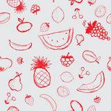Fruits and berries sketch, seamless background Royalty Free Stock Photography