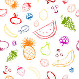 Fruits and berries sketch, seamless background Royalty Free Stock Photos