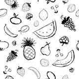 Fruits and berries sketch, seamless background Stock Photography