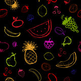 Fruits and berries sketch, seamless background Stock Image