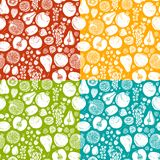 Fruits and berries sketch seamless pattern Stock Images