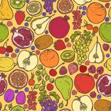 Fruits and berries sketch seamless pattern Stock Image