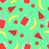 Fruits, berries and smoothie jars seamless pattern on mint green background. Stock Photo