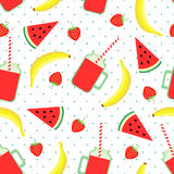 Fruits, berries and smoothie jars seamless pattern on polka dots background. Royalty Free Stock Photos