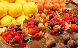 Fruits and berries sold at the market Royalty Free Stock Images