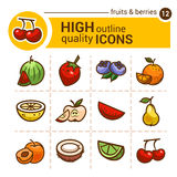 Fruits and berries stickers Royalty Free Stock Images