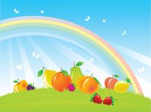 Fruits and berries on summer meadow. With rainbow and butterfly Stock Photo