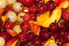 Fruits and berries in syrup Royalty Free Stock Photos