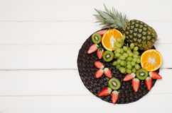 Fruits and berries top view.  Royalty Free Stock Photography