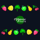 Fruits and berries vector illustration in flat style for eco food logos,organic products signs. Healthy meal icons set. Stock Images