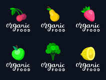 Fruits and berries vector illustration in flat style for eco food logos, organic products signs. Healthy meal icons set. Fruits and berries vector illustration Royalty Free Stock Image