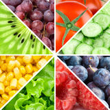 Fruits, berries and vegetables Stock Images