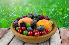 Fruits and berries in a wooden plate, gooseberry, blackberry Royalty Free Stock Photo