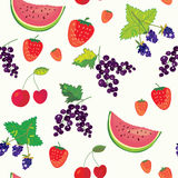 Fruits and berry funny seamless Royalty Free Stock Photos