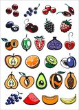 Fruits and berry icons. In color, vector illustration Stock Images