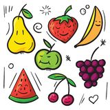 Fruits and berry pear, apple, banana, cherry, strawberry, watermelon and grapes. Funny colored fruits and berries pear, apple, banana, cherry, strawberry Royalty Free Stock Photo