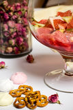 Fruits in big family glass, prepfration of summer sangria Stock Photo