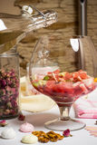 Fruits in big family glass, prepfration of summer sangria Stock Photography