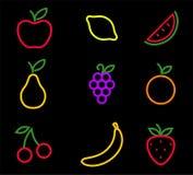 Fruits on black background. Set of fruits on dark background Stock Photography