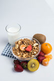 Fruits blancs de granola sur le blanc Photo libre de droits