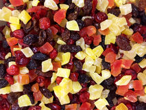 Fruits blend. Mix of tropical fruits blend. Dried fruit cut into small squares Stock Images