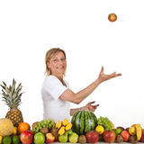 Fruits and blond cute woman Stock Photo