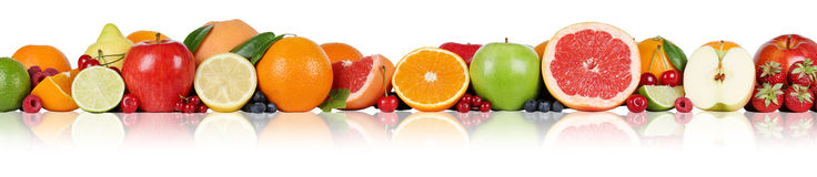 Fruits border oranges lemon apple berry raspberry strawberry in Royalty Free Stock Image