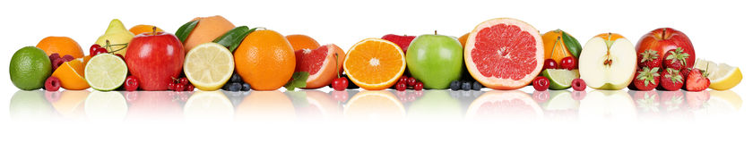 Fruits border oranges lemon apple berry strawberry in a row